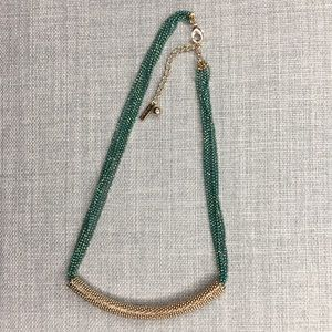 Jewelmint Gold and Green Multistrand Necklace